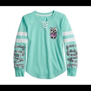 Girls Miss Chievous Sequined Graphic Sweatshirt